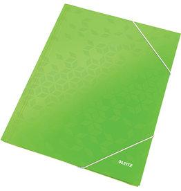 LEITZ Eckspanner WOW, PP-laminiert, Gummizugverschluss, 3 Klappen, A4, grün