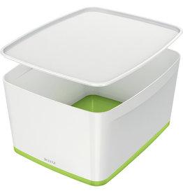 LEITZ Aufbewahrungsbox MyBox® WOW, Groß, ABS, mit Deckel, 18 l, weiß/grün