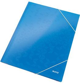 LEITZ Eckspanner WOW, PP-laminiert, Gummizugverschluss, 3 Klappen, A4, blau