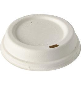 PAPSTAR Deckel pure, mikrowellengeeignet, Zuckerrohr, rund, 8 x 2,5 cm, weiß
