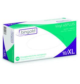 bingold Handschuh 45PLUS, puderfrei, unsteril, Vinyl, Größe: XL, farblos