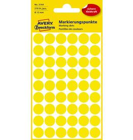 AVERY Zweckform Markierungspunkt, Handbeschr., sk, Ø: 12mm, gelb