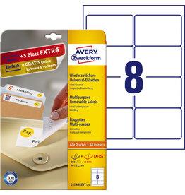 AVERY Zweckform Etikett, A4-Bg., ablösbar, 96x63,5mm, weiß