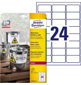 AVERY Zweckform Etikett, L/K, A4-Bg., sk, PE-Folie, 63,5x33,9mm, weiß