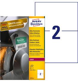 AVERY Zweckform Etikett, ultra-resistent, L/K/FL/FK, sk, 210x148mm, weiß, matt