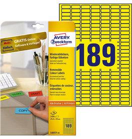 AVERY Zweckform Etikett, I/L/K, A4-Bg., sk, ablösbar, Pap., 25,4x10mm, gelb