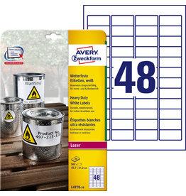 AVERY Zweckform Etikett, L/K, A4-Bg., sk, PE-Folie, 45,7x21,2mm, weiß