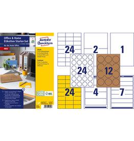 AVERY Zweckform Etikett, Home Office Starterset, auf A4-Bogen, sk, Papier, sortiert