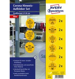 AVERY Zweckform Schild, Corona-Hinweise, sk, permanent, Folie, rund, Ø: 200 mm, gelb