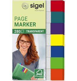 sigel Haftmarker transparent, 50x12mm, 7farb. sort., 7 x 40 Blatt
