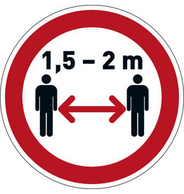 DURABLE Schild, Abstand halten 1,5 - 2 m, sk, ablösbar, rund, Ø: 430 mm