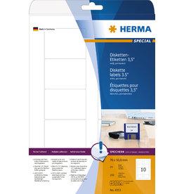 HERMA Etikett, Disketten 8,89 cm, I/L/K, sk, abger.Ecken, 70 x 50,8 mm, weiß