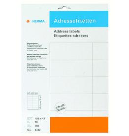 HERMA Adressetikett, Schreibmaschine, sk, spitze Ecken, 105x42mm, weiß, matt