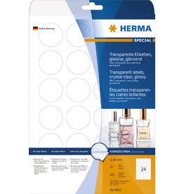 HERMA Etikett, FL/FK, rund, Ø: 40 mm, transparent, glänzend