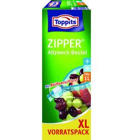 Toppits Gefrierbeutel Zipper®, Reißverschluss, 1 l, farblos, transparent