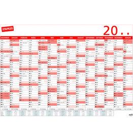 STAPLES Jahresplaner, 14M/1S, Karton, 100 x 70 cm, Druck: 2farbig, schwarz/rot