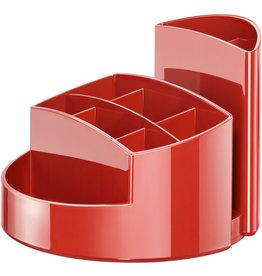HAN Stifteköcher RONDO, Kunststoff, rund, 140x109mm, 9 Fächer, rot