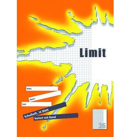 LANDRÉ Schulheft Limit, Lin.: 26, kariert mit Rand, A4, 80 g/m², 16 Blatt