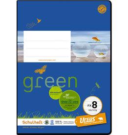 Ursus Green Schulheft, FX8, vierlinig, A5, 80 g/m², 20 Blatt