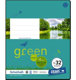 Ursus Green Schulheft, FX32, liniert mit Rahmen, Quart, 80 g/m², 20 Blatt