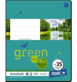 Ursus Green Schulheft, FX35, liniert mit Rand, Quart, 80 g/m², 20 Blatt