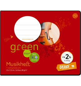 Ursus Green Musikheft, FX 2b, 22 x 17,5 cm, 80 g/m², 16 Blatt
