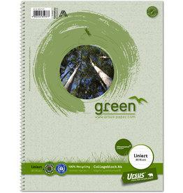 Ursus Green Collegeblock, liniert 9 mm, A4, 60 g/m², RC, weiß, 80 Blatt