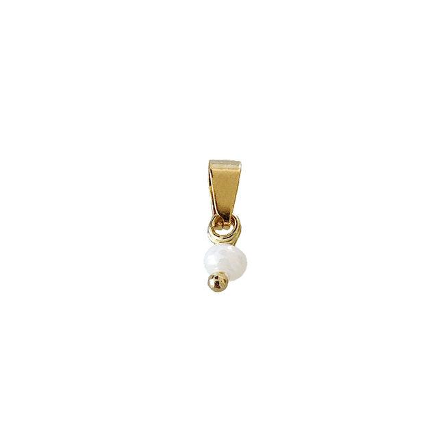 Tiny White Bead - Gold