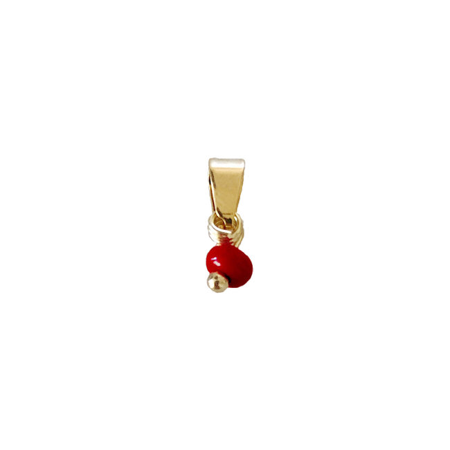 Tiny Red Bead - Gold