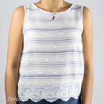 R95th Striped embroidered top