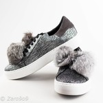kanna Grey pompon sneakers