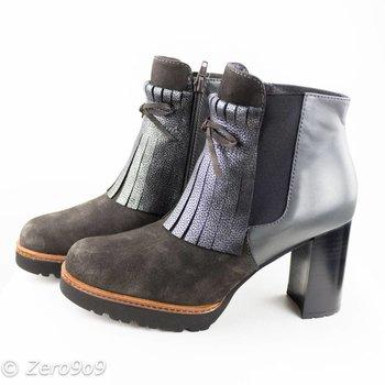 Gadea Silver grey heel boots
