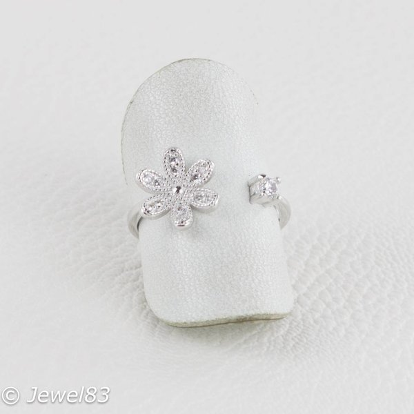 925e Open ring with flower