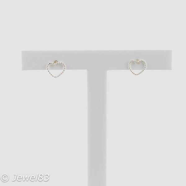 925e Thin heart earrings