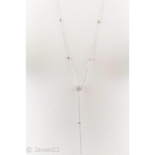 925e Silver crystal long necklace