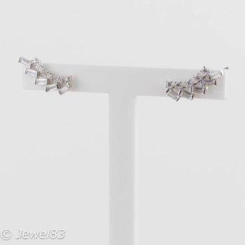 925e Silver crystal earcuffs
