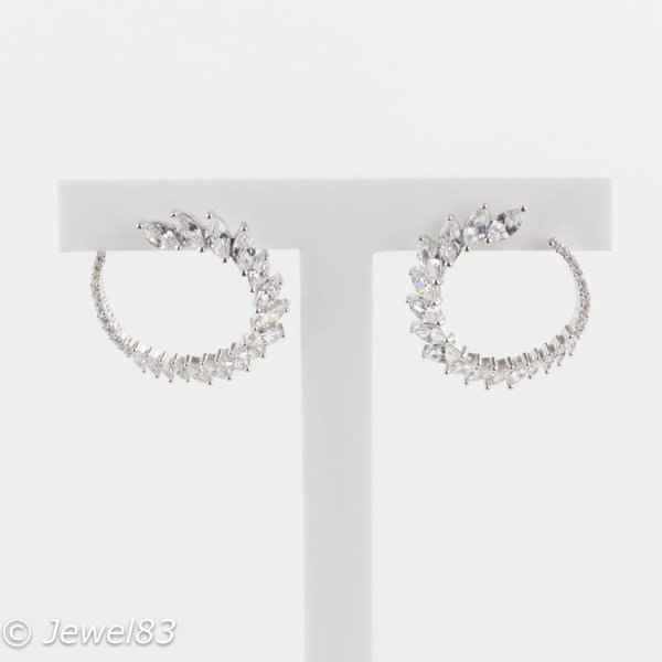925e Crystal round earrings
