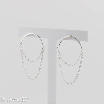 925e Silver circle chain earrings