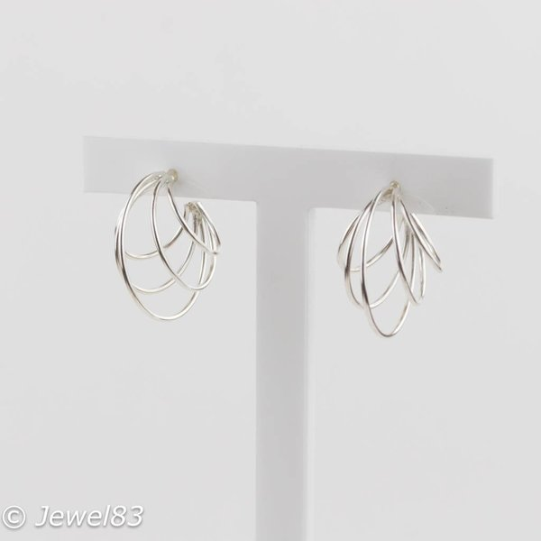 925e Multi hoop silver earrings