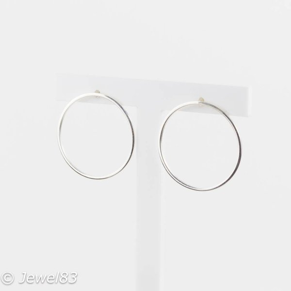 925e Double hoop silver earrings
