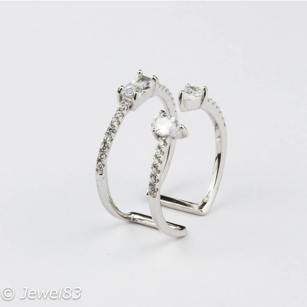 925e Adjustable silver crystal ring