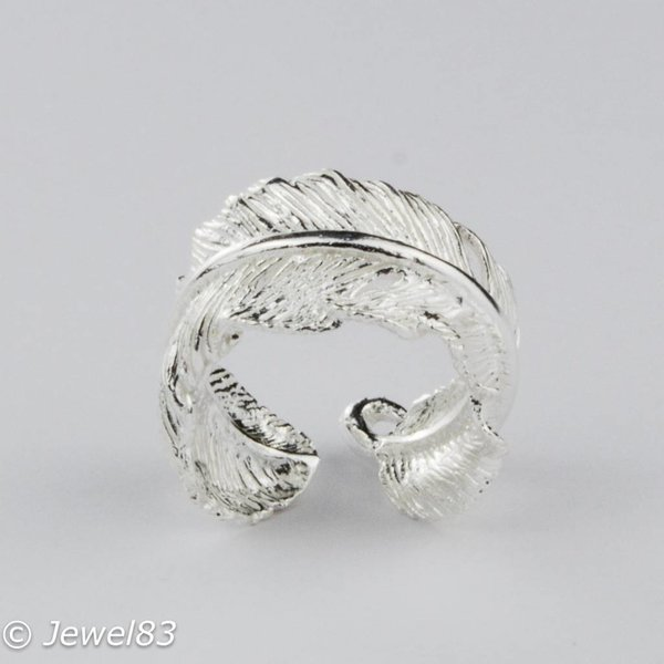 925e Adjustable silver feather ring