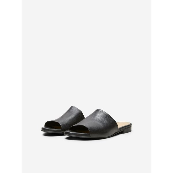 Selected Black leather mule