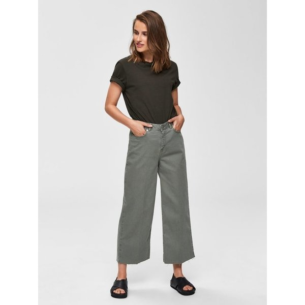 Selected Cropped wide green jeans