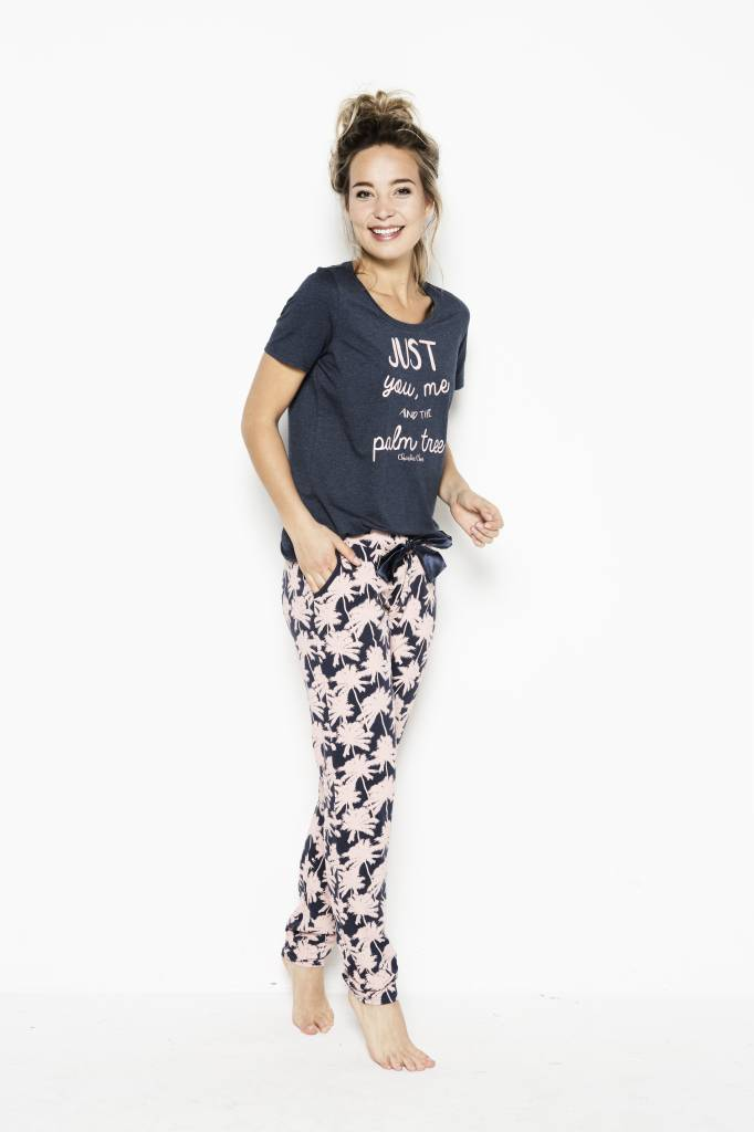 Damen Pyjama T-Shirt Pretty Pink Palmtrees | 38A-31165