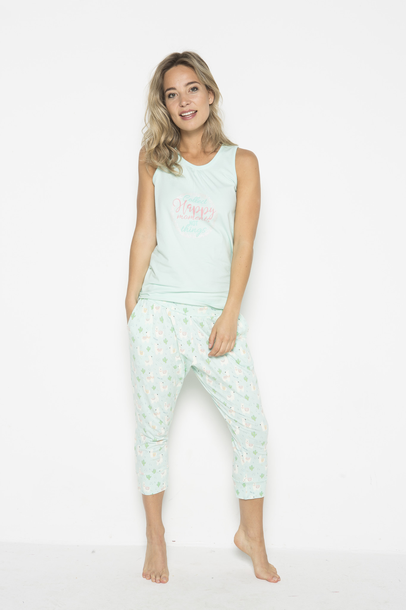 Damen Pyjamahose 3/4 Cheerful Alpaca | 38A-31123
