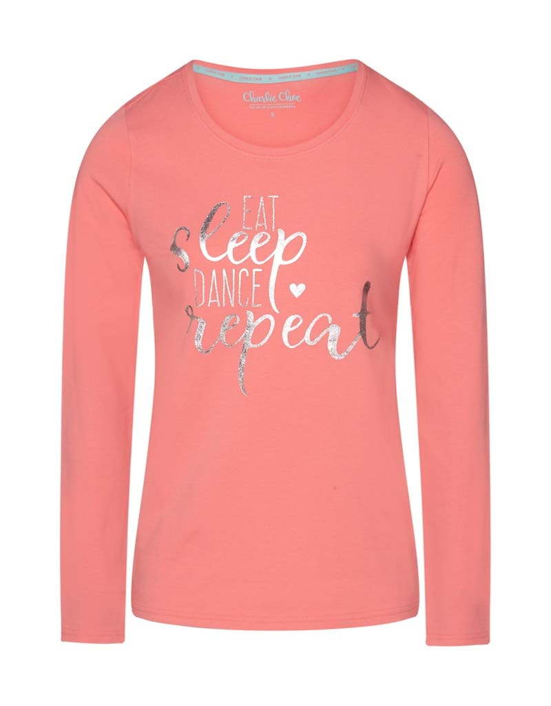 Dames Pyjama Shirt Eat Sleep Dance Repeat | 38B-33144