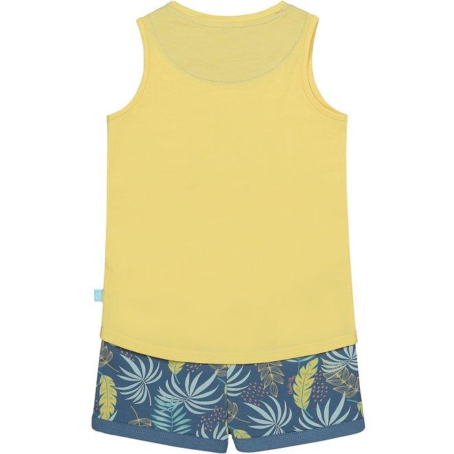 Charlie Choe Meisjes Pyjama Shortama Geel Blauw Palmprint