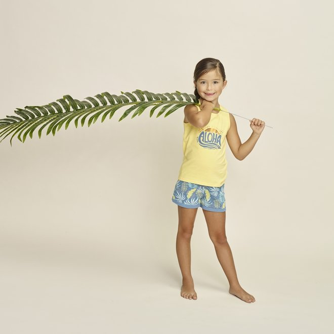 Charlie Choe Girls Pyjama Short Set Yellow Blue Palm Print