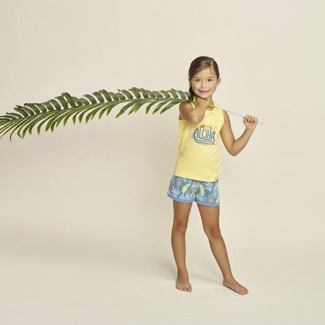 Charlie Choe Mädchen Pyjama Short Set Gelb Blau Palm Print